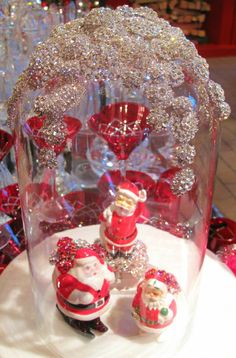 Jeweled Santas from the Eric Cortina Collection for Roger's Gardens 2013 Christmas display. Christmas Carol, Christmas Crafts, Christmas Stuff, The Bell Jar, Bell Jars, Rogers Gardens, And July, Mrs Claus, Apothecary Jars