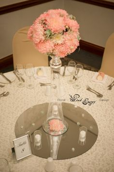 Guest table centerpiece - pink flowers on top of a tall glass vase. Table Centerpieces, Table Decorations, Tall Glass Vases, Mint Blue, Blue Pearl, Pink Flowers, Floral Design, Elegant, March