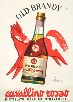 Old Brandy - Cavallino Rosso by Sepo, (Severo Pozzati) | Shop original vintage posters online: www.internationalposter.com