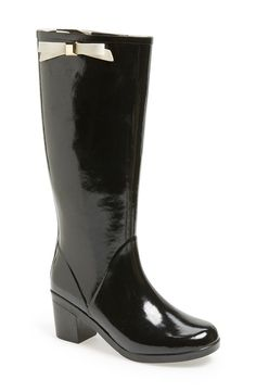 kate spade new york 'romi' rain boot | Stay effortlessly chic even in wet, rainy weather with a classic rain boot topped with a stud-embellished kate spade bow.