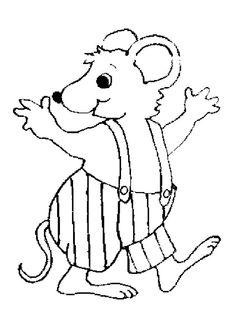 Dessin à colorier d'une souris avec un pantalon à bretelles