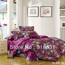4PCS Colorized Butterfly Fluttering Design Bedding Bedroom Set Violet Red Duvet Cover Set in Full/Queen Quality Cotton, EMS Free(China (Mainland))