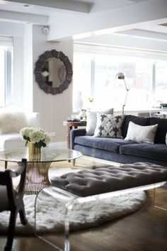 Lucite bench, Platner coffee table; Rue Mag