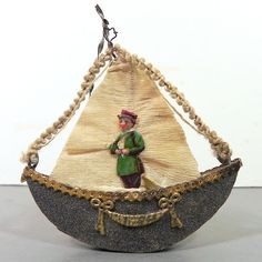 DRESDEN Christmas Ornament - Early 1900s - 3D BOAT / GONDOLA w CHROMO Sailor