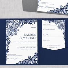 Ornate Lace Pocket Wedding Invitation Template (Navy Blue) – Karma K. Weddings