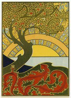 Art nouveau tree - circle tattoo