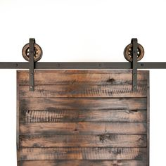 This is a beautiful rustic industrial steel top mount sliding barn door hardware set. Made in the USA by hand from high quality rugged buffed steel and wood. This beautiful set of hardware takes you back to the industrial time, all within your own home. Includes: (1) Track (2) Rollers (4-6) Wall Spacers (2) Door …