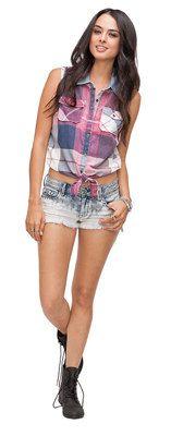 Black Poppy Plaid Tie Front Shirt & Bullhead Sno Cone Dip Dye Stud Shorts #BlackPoppy #Bullhead #PacSun