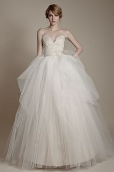 Ersa Atelier 2013  Collection - lace and tulle with jeweled belt. In love with everything about this