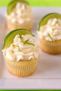margarita cupcakes with tequila. probably better than the margarita cupcakes i made where i put a WHOLE SHOT of tequila in each cupcake. Margarita Cupcakes, Lime Cupcakes, Vanilla Cupcakes, Spring Cupcakes, Alcoholic Cupcakes, Ladybug Cupcakes, Kitty Cupcakes, Snowman Cupcakes, Desert Recipes