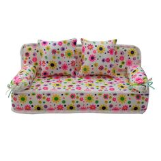 ReFaXi Lovely Miniature Furniture Flower Print Sofa Couch With 2 Cushions For Barbie Flower, 8.50cm by ReFaXi