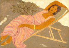 Pierre Boncompain   Chaise longue a la robe rose, Oil on Canvas
