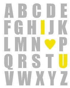 Alphabet Poster Nursery Art Print Yelllow and by breedingfancy- cute for yellow and grey nursery