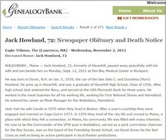 "Obituary for Jack Howland, published in the Eagle Tribune newspaper (Lawrence, Massachusetts), 2 November 2011. Read more on the GenealogyBank blog: ""Mayflower Heritage: Jack Howland Loved His!"" http://blog.genealogybank.com/mayflower-heritage-jack-howland-loved-his.html"