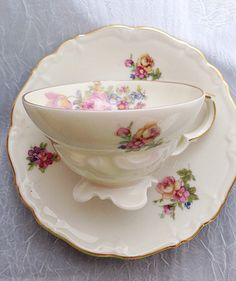 Vintage Edelstein Demitasse Tea Cup and Saucer, Floral, Raised Motif, Bavaria, c. 1940's on Etsy, $17.95