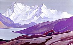 Sacred Himalayas, 1934 by Nicholas Roerich. Symbolism. landscape. State Museum of Oriental Art, Moscow, Russia