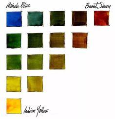 Watercolor Mixing, Watercolor Tips, Watercolour Tutorials, Watercolor Techniques, Art Techniques, Watercolor Painting, John Lovett, Color Mixing Chart, Color Charts