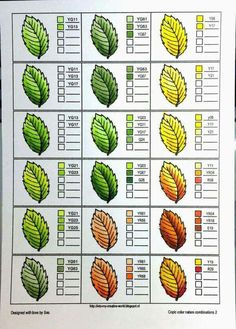 Coloring nature with Copic Markers - leaves - Crafting For Holidays Coloring Tips, Leaf Coloring, Colouring Pages, Adult Coloring Pages, Coloring Books, Copic Kunst, Copic Art, Copic Markers Tutorial, Diy Y Manualidades