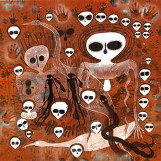 Aboriginal art in Broome, Western Australia. (Ancestors??)