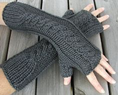 Hand Knit Merino and Cashmere Cables Arm Warmers - I'd pair this under a black cape coat, skinny jeans and boots!