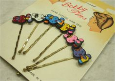 Vintage Retro Carded Hand Painted BUNNY RABBITS Bobby Pins