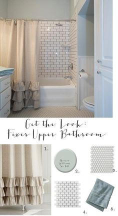 Home Decorating Ideas Farmhouse Get the Look: Fixer Upper Bathroom. Home Design Ideas: Home Decorating Ideas Farmhouse Home Decorating Ideas Farmhouse Get the Look: Fixer Upper Bathroom. Decoration Design, Home Design, Design Ideas, Subway Tiles, Beautiful Bathrooms, Tiny Bathrooms, Upstairs Bathrooms, Rustic Bathrooms, My New Room