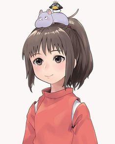 Studio Ghibli Art, Studio Ghibli Movies, Cute Bunny Cartoon, Cartoon Art, Anime Girl Drawings, Anime Art Girl, Cute Anime Chibi, Kawaii Anime, Chihiro Y Haku