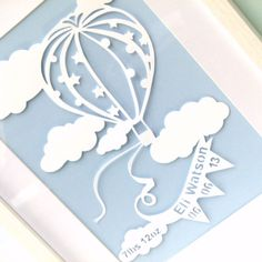 Hot air balloon personalised paper cut original framed | wowthankyou.co.uk