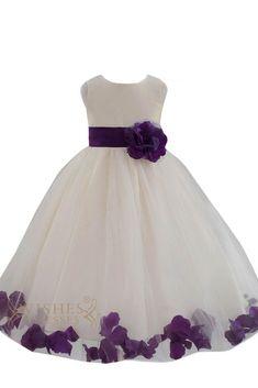 2015 Cute Purple Detail Flower Girl Dresses Am224