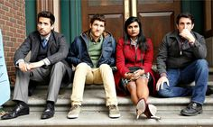 Mindy's project: (from left) Ed Weeks, Adam Pally, Mindy Kaling and Chris Messina. Photograph: Getty