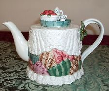 VTG Retired 1992 FITZ & FLOYD Country Christmas Patchwork Quilt Lace Teapot Jar