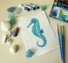 Seahorse aqua original watercolour painting by SeasideStudiosUK