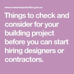 ​Things to check and consider for your building project before you can start hiring designers or contractors. Different Types Of Houses, Contingency Plan, Electrical Work, Building Code, Building Companies, Building Materials, Work On Yourself, Budgeting