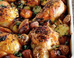 Baked Chorizo and Potato Spanish Chicken - A full dinner in one baking pan!