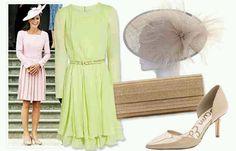 Oscar de la Renta chartreuse chiffon dress, Jimmi Choo clutch,  LK Bennett pumps.