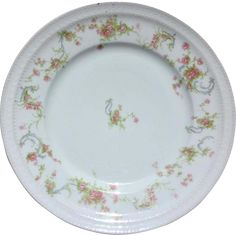 This vintage china dinner plate by Haviland, Limoges, France is so pretty with its Pink Roses and Blue Scrolls! The pattern is Schleiger 57, and is so romantic. Great with your Shabby Chic decor!