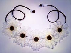 White Daisy Flower Headband, Flower Crown, Flower Halo, Festival Wear, EDC, Ultra Music Festival, Rave by BrittsBlossoms on Etsy https://www.etsy.com/listing/200750538/white-daisy-flower-headband-flower-crown