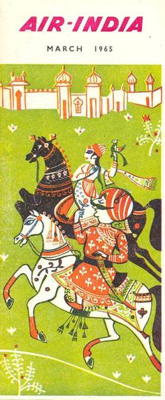 Vintage Air India timetable love stylized horses and turbanned rider in illustration Air India, Vintage India, Vintage Air, Travel Illustration, Graphic Design Illustration, Jaisalmer, Udaipur, India Poster, Horse Posters