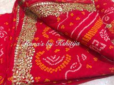 Bandhani Saree, Lehenga Saree, Bottle Green Saree, Gota Patti Saree, Elegant Saree, Georgette Fabric, Blouse Designs, Pure Products, Lace Shirts