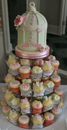Wedding Cupcake Tower.  Displayed on #WeddingAcrylics Round Mirror Stand http://www.weddingacrylics.co.uk/round-cupcake-stands/005-7-R-WA.html