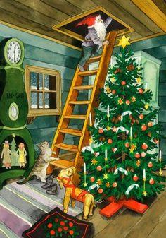 New single Christmas postcard by Inge Look gnome Christmas tree Swedish Christmas, Noel Christmas, Vintage Christmas Cards, Scandinavian Christmas, Xmas, Illustration Noel, Christmas Illustration, Yule, Elves