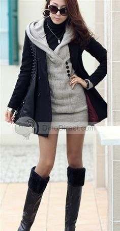 Fashion Solid Buttons Pullover Hooded Knitting Long Sleeve Cotton Blend Women Sweaters