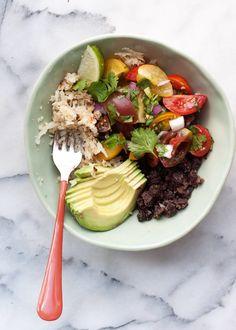 Cauliflower Rice Black Bean Burrito Bowl recipe With cilantro rice and Quorn or tofu with taco seasoning