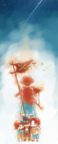 Ace, Sabo, Luffy, sad, falling star, shooting star, young, childhood, different ages, time lapse, brothers, ASL, flag, Jolly Roger, crying, hat; One Piece