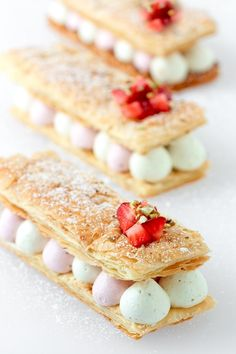 Gold and White Wedding. Wedding Reception Dessert Buffet.  Pistachio and strawberry mousse mille feuilles