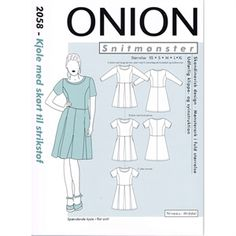 Symønster på kjole med skørt til strik, Onion 2058