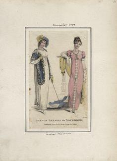 Ladies' Museum, November 1809, London Dresses for November.  Copy of Ackerman's October 1809 dresses