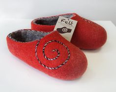 Hand Felted Wool Slippers for Everyone. Rad  with gray inside. and Spiral decor.