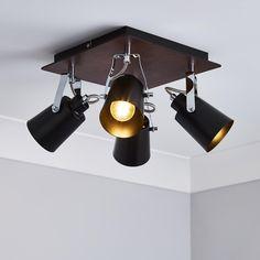 Kitchen Spotlights, Kitchen Ceiling Lights, Ceiling Spotlights, Light Fittings, Light Fixtures, Black And Copper Kitchen, Black Kitchens, Lighting Solutions, Dark Wood