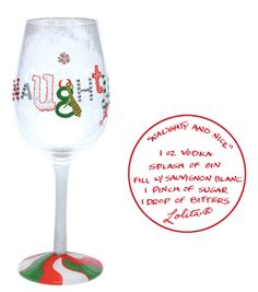 Lolita wine glass with recipe on the bottom hand painted, gift boxed and in stock at Seasons by Design specialty shop, 2605 Ford Drive, New Holstein, WI 53061.       920-898-9081 Seasonsbydesigngifts@yahoo.com  Follow us on Facebook